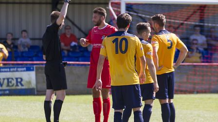 Tom Ward is sent off during St Neots Town's defeat against Slough Town on the opening day of the cur