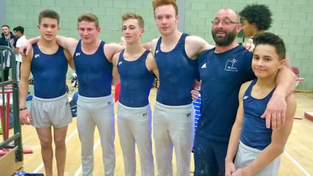 The Huntingdon Gymnastics squad, who finished fourth in the Adams Shield, are from the left, Harry O