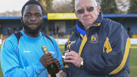 Junior Morias picks up the November player of the month award. Picture: BOB WALKLEY