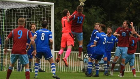 Tom Gowans missed out with illness as London Colney exited the FA Vase. Picture: MARK LONG