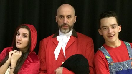 Kelly Lucken as Red Riding Hood, David Atkins as Squire Bullymore and Alex Thompson as Patches in th