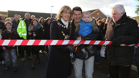 Re-opening of Fontmell Close, St Alban's, AL3 5HU after repairs following a sinkhole.Left to right: