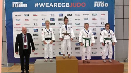 Amy Platten on the podium after her victory at the U18 British Cadet Championships