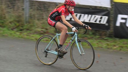 Cecilia Hime of St Ives CC 'Go Ride' at the final round of the National Cyclocross Trophy in Shrewsb