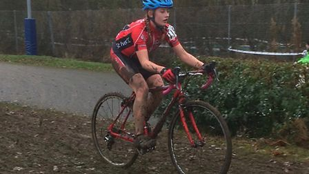 Bea Pauley of St Ives CC 'Go Ride' at the final round of the National Cyclocross Trophy in Shrewsbur