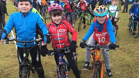 Jacob Wood, Cora Wood and Ralph Bicknell of St Ives CC 'Go Ride' at the first round of the Muddy Mon