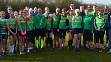 The Hunts AC senior team who competed in the latest round of the Frostbite Friendly League at Hinchi
