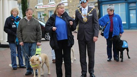 Mayor of Huntingdon, Councillor Daryl Brown, taking a guided walk around the town