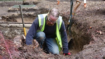 Pre-construction archaeological dig at St Albans Abbey.