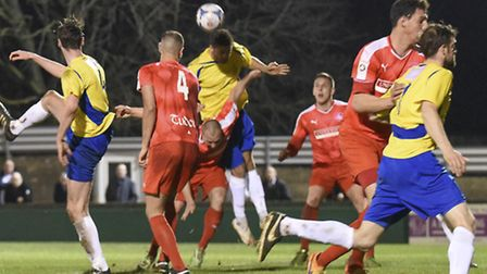 Michael Thalassitis, who now plays for Hemel Hempstead Town, scored for St Albans City in last year'
