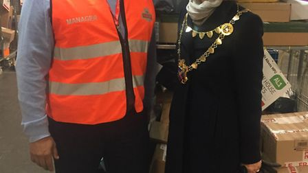 The Mayor of St Albans, Cllr Frances Leonard, with Jeromy Simpson, St Albans delivery office manager