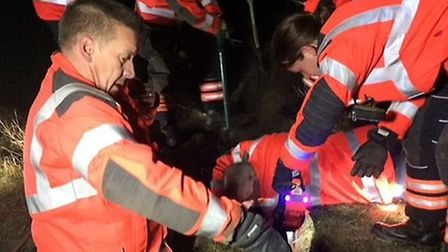 Firefighters rescued a dog that was stuck in a rabbit warren in St Neots