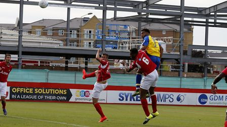 Ryan Johnson headed City in front at Margate. Picture: LEIGH PAGE