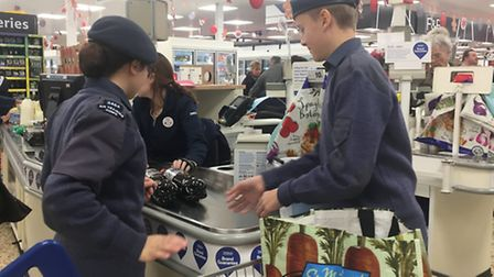 Cadets from 2484 (Bassingbourn) Sqadron were bagpacking at Tesco for the John Thornton Young Achiev