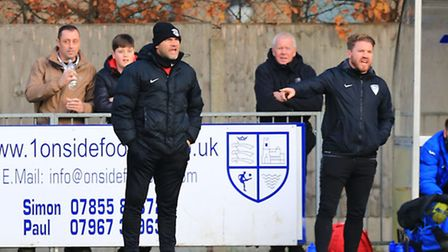 Royston Town boss Steve Castle (left) and assistant Chris Watters. Picture: Kevin Richards