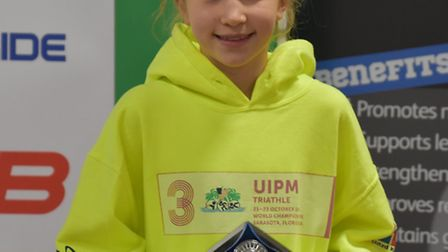 Raissa Vickery with her prize from the British Modern Biathlon National Championships