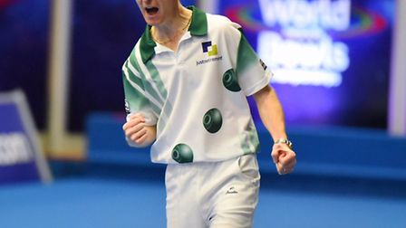 Nicky Brett fell at the first hurdle of the World Indoor Championships men's pairs. Picture: JAMES B