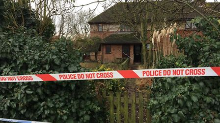 The property, in Houghton Road, where police are investigating the sudden death of a man
