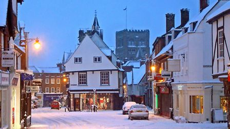 St Albans Market Place in the snow