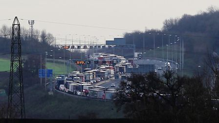 Traffic on the M25 at a standstill. Stock photo.
