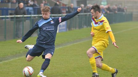 Debutant Harry Norman during St Neots Town's defeat to Weymouth.