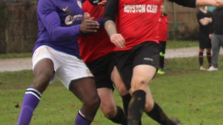 AFC Mymms' Ashley Fongho proved a handful to the Royston Rangers defenders, scoring four goals