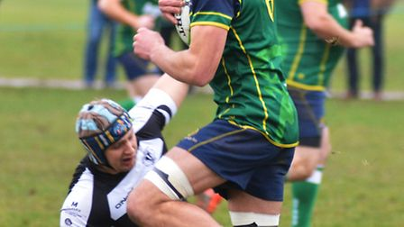 Try-scorer Andy Mourits during Huntingdon's victory against Bugbrooke.