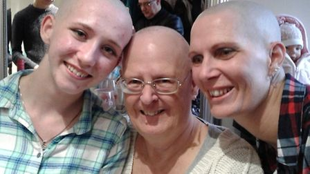Teija, Linda and Angie had their heads shave to raise money for a breast cancer charity.