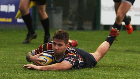 Jack Daly scores a try for Old Albanian. Picture: KARYN HADDON