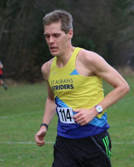 Paul Adams of St Albans Striders at the County Cross Country Championship at Haileybury College