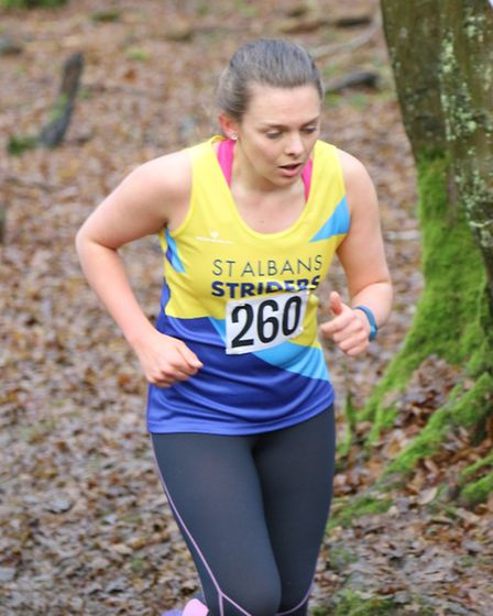 Francesca Durbin of St Albans Striders at the County Cross Country Championship at Haileybury Colleg