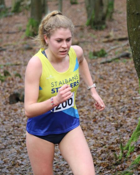 Megan Steer of St Albans Striders at the County Cross Country Championship at Haileybury College