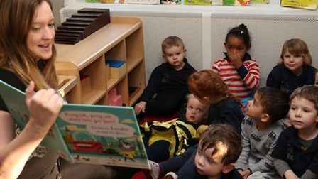 Independant Usborne Organiser Amy Collins reads to Busy Bees pre-school children for storytelling we