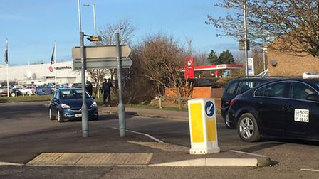 The Old North Road roundabout in Royston where a pedestrian died after a collision with an on-duty f