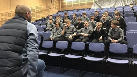England coach Steve Borthwick answers the questions from the children of Aldwickbury School