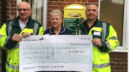The donation to the East of England Ambulance Service First Responders.