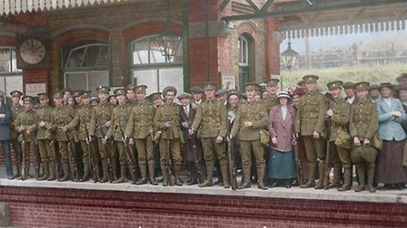 E Company of the Herts Regiment's 1st Battalion leaving Letchworth station for war in October 1914.