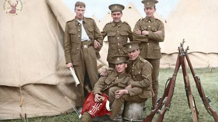 Hertfordshire territorials including Percy Buck at Summer Camp just before the outbreak of war in 19