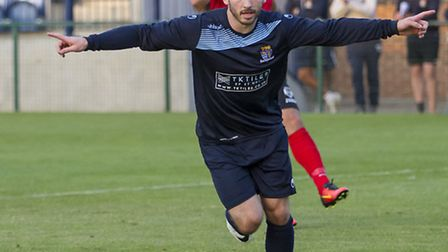 James Hall celebrates scoring for St Neots Town earlier this season. Picture: CLAIRE HOWES