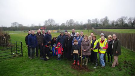 The mayor of Godmanchester helped to plant trees in the new orchard.