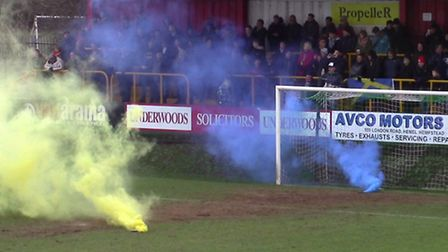 Smoke bombs were thrown prior to St Albans City's game at Hemel Hempstead Town. Picture: DAVID TAVEN