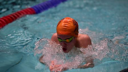 James Quinn on his way to two medals at the City of Derby Open Meet in Sheffield.