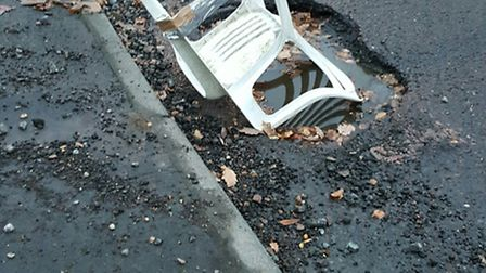 The pothole on the corner of Mount Pleasant Lane and Wildwood Avenue in Bricket Wood.