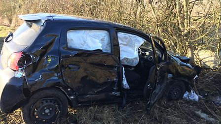 The driver of this car - a man in his 80s - was unhurt despite the crash with a lorry. Picture: @Sou