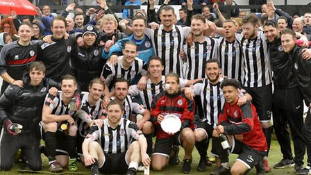 St Ives Town celebrate winning the Southern League Division One (Central) play-off final last season