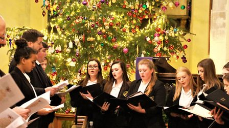 Meridian School choir sing at Royston's parish church. Picture: Clive Porter