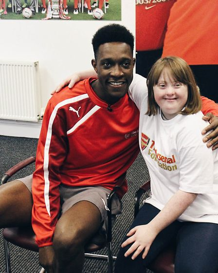 Arsenal stars, including Danny Welbeck, pictured left, supported a charity matchday