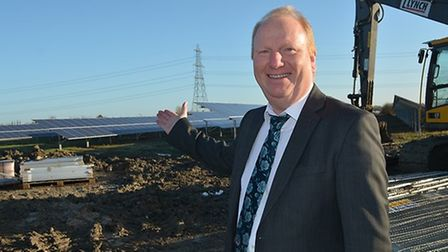 County council leader Steve Count shares his delight with the opening of the solar farm in East Camb