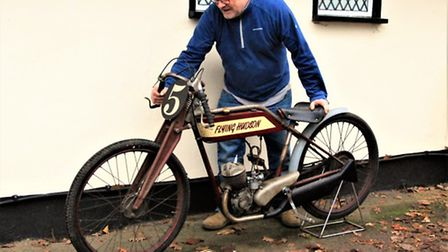 Mick Sayers took his bike, converted from a 1950s Hudson Autocycle, which he has named The Flying Hu