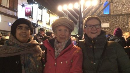 Three leading members of the St Albans Women's Interfaith Group at the Chanukah lighting, from left,